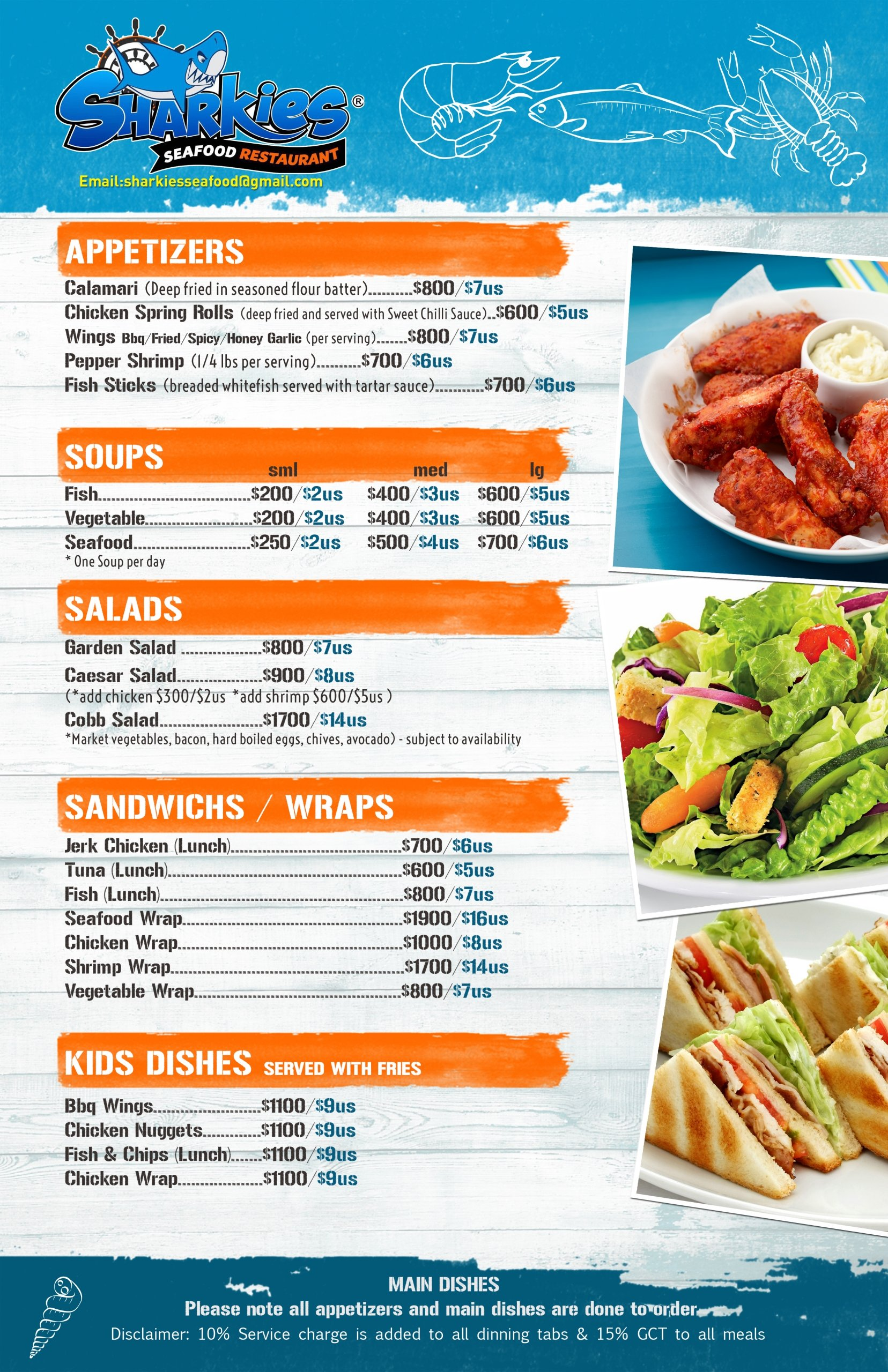 Sharkies Seafood Menu pg1