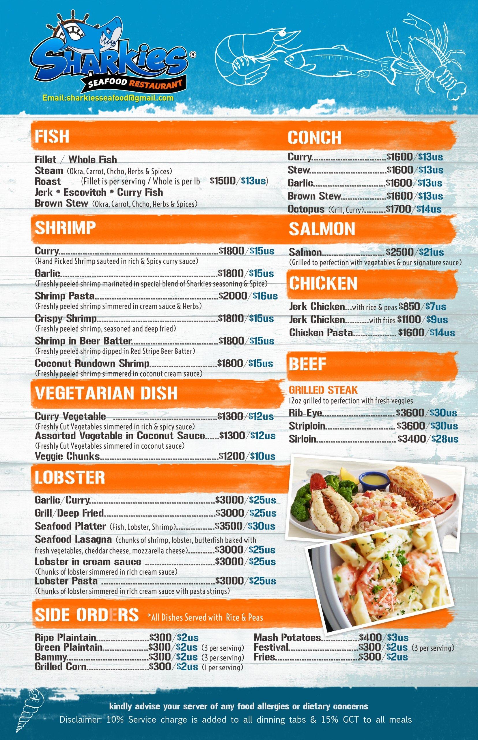 Sharkies Seafood Menu pg2