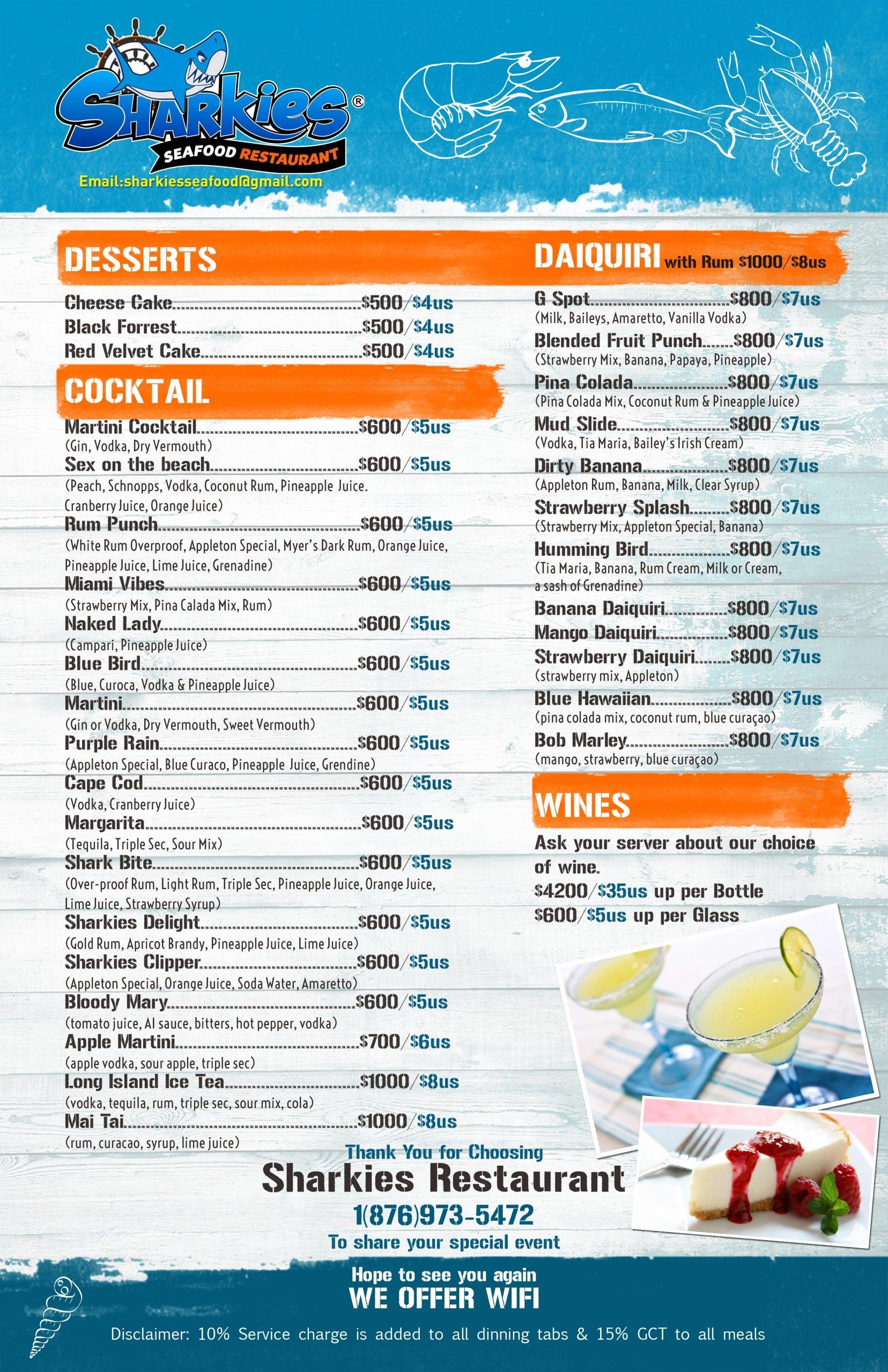 Sharkies Seafood Menu pg3