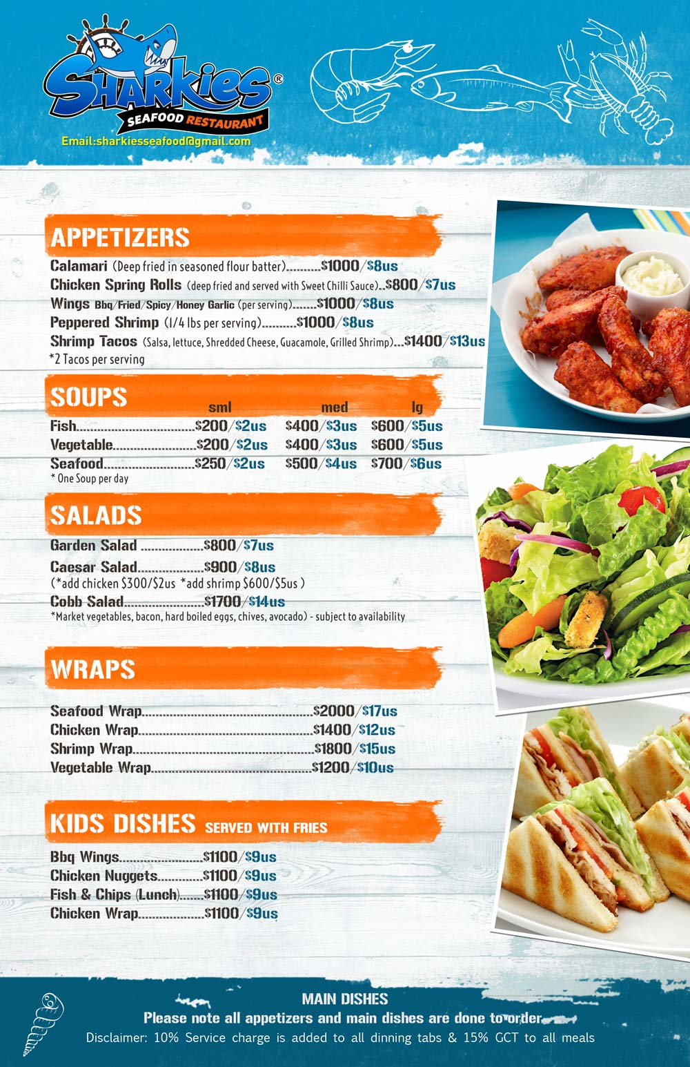 Sharkies Seafood menu 1