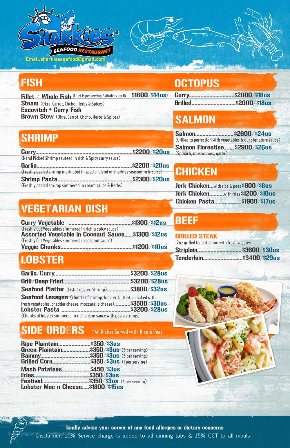 Sharkies Seafood menu 2