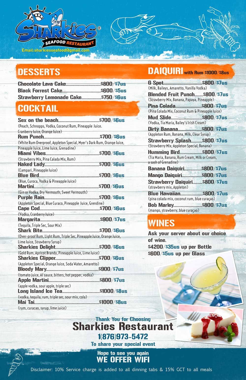 Sharkies Seafood menu 3